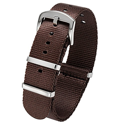 PBCODE Brown Watch Strap 20mm Seat Belt Nylon NATO Straps Heavy Duty Polished Stainless Steel Buckle by PBCODE watch straps