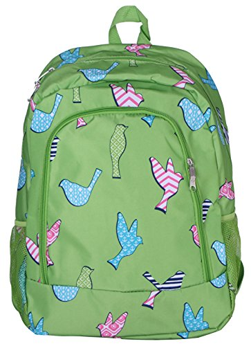 School Backpack for Boys and Girls, Sturdy and Water-Resistant (Green Birds)