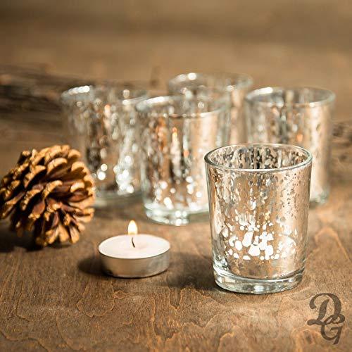 Decent Glass Set of 6 Silver Mercury Votive Tealight Candle Holders for Diwali & Christmas, Lighting Decoration…