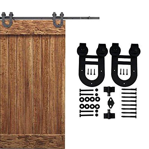 WINSOON Ship from USA Single Antique Interior Wood Sliding Door Hardware Barn Style Closet Kit Steel 2 Wheels Horseshoe Shaped (6FT)
