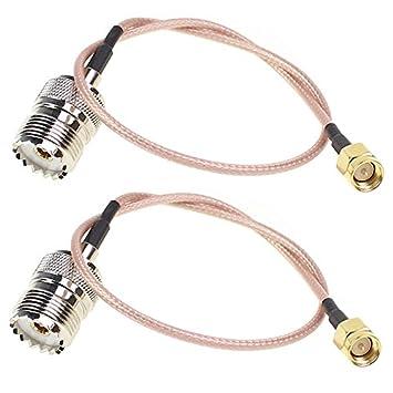 Cable coaxial SMA Macho a UHF Hembra 2 Piezas SO-239 RG316 Conector de Antena Recto para WiFi 6 Pulgadas (15 cm): Amazon.es: Electrónica
