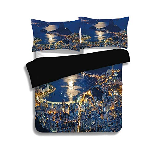 SINOVAL Black Duvet Cover Set Twin Size,Night,Aerial View of Mountain Sugar Loaf and Botafogo Rio de Janeiro,Violet Blue Marigold Light Grey,Fashion 3 Pcs Bedding Set with 2 Pillow ()