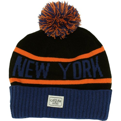 Beanie New Sons Royal Black Cayler and Pom Orange Blue York Pom nYwWPWxR