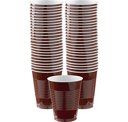 Amscan 436801.111 Durable Plastic Cups, 50 pieces, Chocolate Brown -