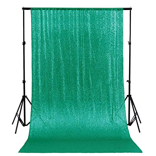 ShinyBeauty Sequin Backdrop-8FTx10FT-Green Glitter Backdrop Sequin Curtain Backdrop Shower Curtain Set