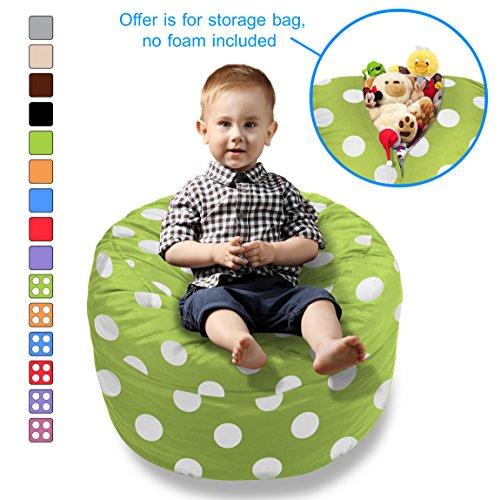 (BeanBob Stuffed Animal Bean Bag - Kids Stuffed Animal Storage Bag Chair - Pouf Ottoman for Toy Storage 2ft Green w/Polka Dots)