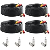 Postta BNC Video Power Cable (4 Pack 100 Feet) Pre-made All-in-One Video Security Camera Cable Wire with Eight Connectors for CCTV DVR Surveillance System