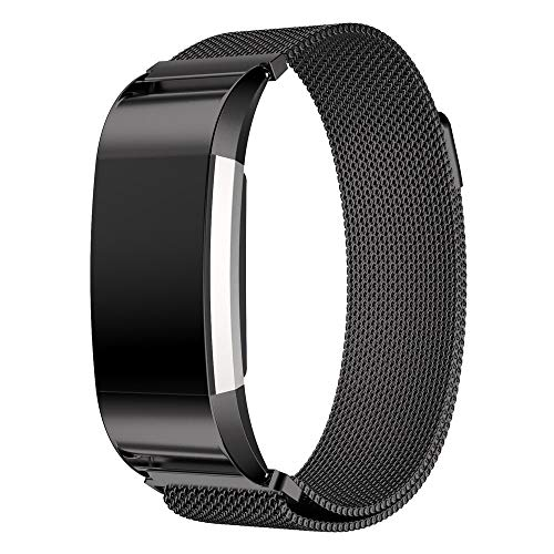 Watch Band Replacement Compatible with Fitbit Charge 2 Milanese Stainless Steel Strap for Men Women with Secure Strong Magnetic Lock