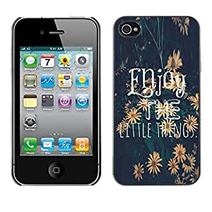 LOVE FOR iPhone 4 / 4S Enjoy The Little Things Sunflower Text Personalized Design Custom DIY Case Cover