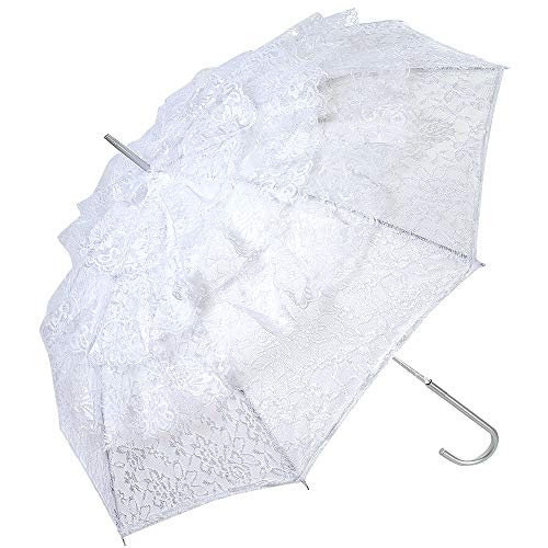 White Beautiful Flower Lace Parasol Wedding Bridal Party Decoration Photograph Props Bride Large Wedding Umbrella