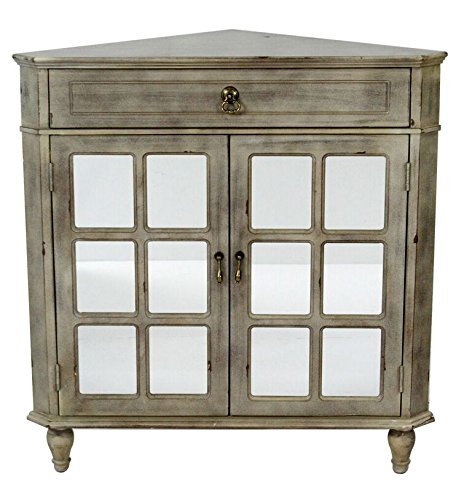 Heather Ann Creations The Vivian Collection Contemporary Style Wooden Double Door Floor Storage Living Room Corner Cabinet with Paned Glass Inserts and 1-Drawer, Grey Wash Door Corner Curio