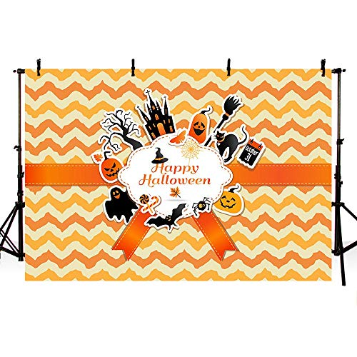 MEHOFOTO Orange Wave Happy Halloween Themed Party Decoration Banner Photo Studio Booth Background Bats Pumpkin Cat Backdrops for Photography -