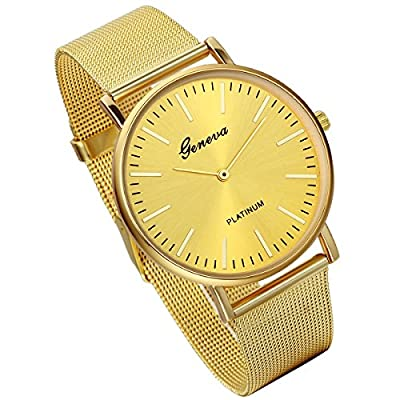 Lancardo Luxury Mens Quartz Watch With Milanese Loop Woven Stainless Steel Mesh Band (Gold) from Lancardo