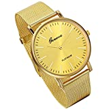 Lancardo Luxury Mens Quartz Watch With Milanese Loop Woven Stainless Steel Mesh Band (Gold)
