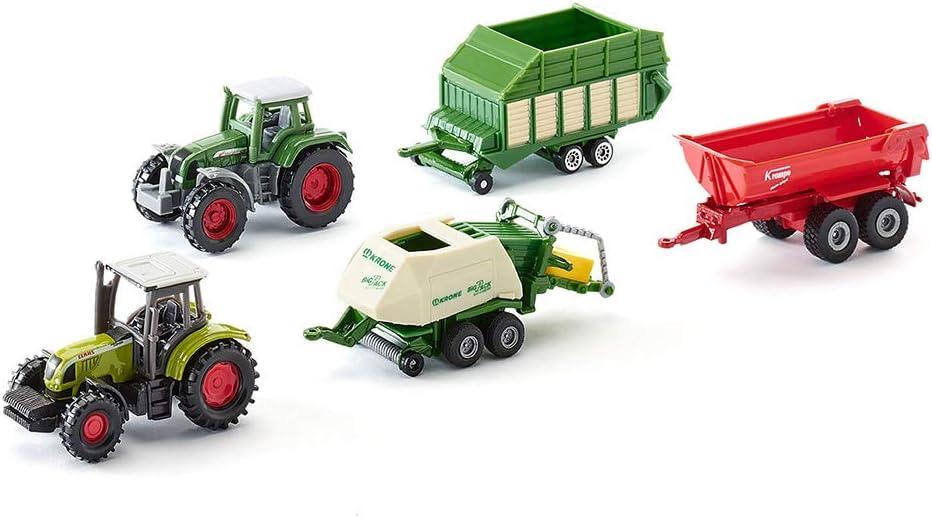 Assortiment De Jouets Compatibles Ensileuse /à mais Claas 3 Remorques /& 1418 SIKU 6286 Pi/èces Mobiles Agriculture M/étal//Plastique 2 Tracteurs Multicolore Coffret Cadeau 7