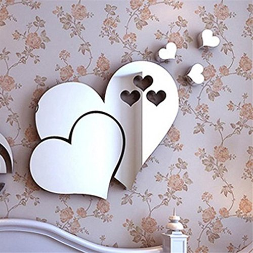 Clearance!! ZOMUSA 3D Mirror Love Hearts Wall Sticker Decal DIY Home Room Art Mural Decor (Silver)