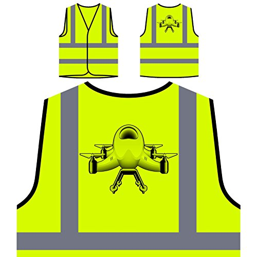 Drone Camera Pilot Personalized Hi Visibility Yellow Safety Jacket Vest Waistcoat r636v