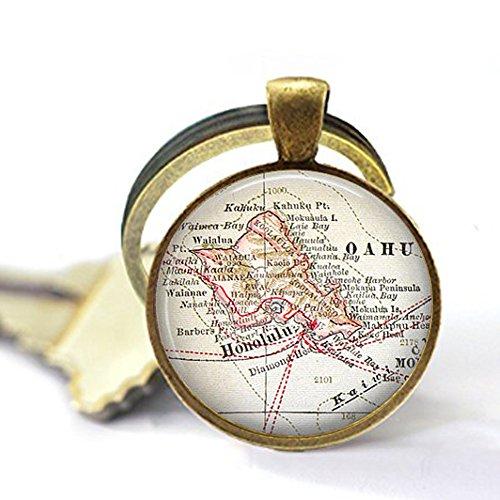 (Oahu, Hawaii Vintage Map Jewelry - Keychain - Compass Charm - Hawaiian)