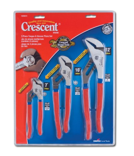 Crescent R200SET3 3 Piece 7-Inch, 10-Inch, and 12-Inch Tongue and Groove Plier Set (Contractor Piece 3)
