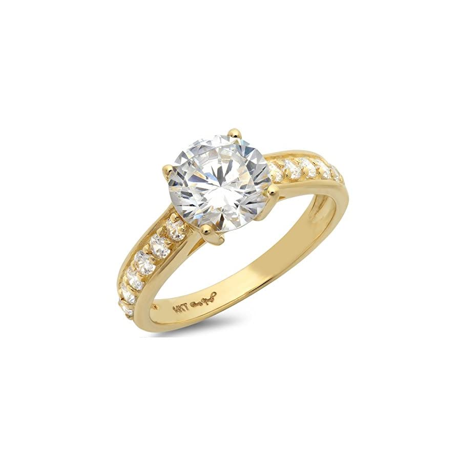 Clara Pucci 2.45 Ct Brilliant Round Cut Accent Solitaire Engagement Promise Wedding Bridal Anniversary Ring 14K Yellow Gold