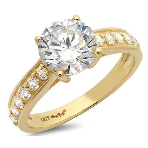 2.45 Ct Brilliant Round Cut Accent Solitaire Engagement Promise Wedding Bridal Anniversary Ring 14K Yellow Gold, Clara Pucci