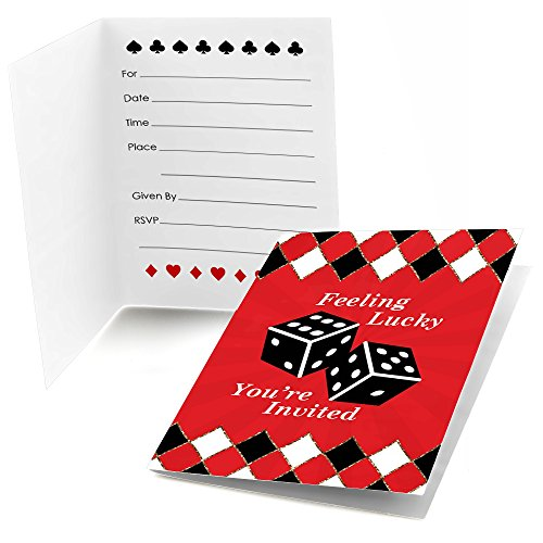 Las Vegas - Fill In Casino Party Invitations (8 - Night Party Casino Invitations