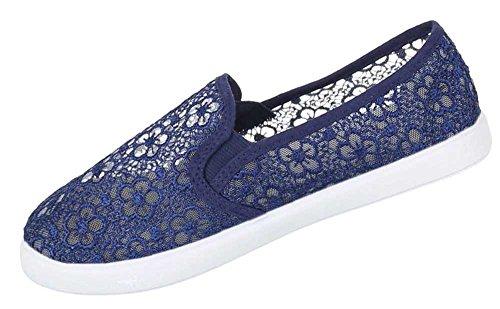 Damen Schuhe Sommer Flache Schlupf Slipper Stretch Spitzen Freizeitschuhe Blau