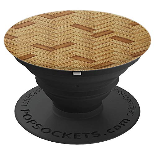 Bamboo Wicker Mat Basket Pattern Pop Mount Socket Design - PopSockets Grip and Stand for Phones and Tablets