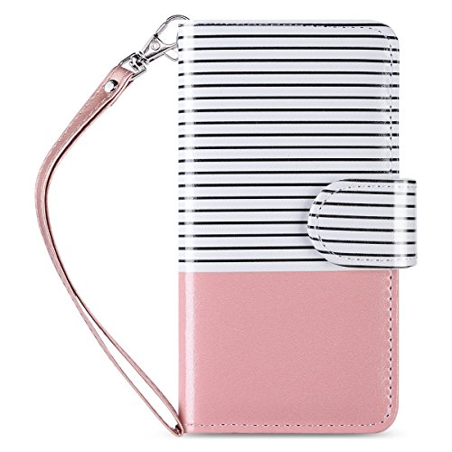 (ULAK Flip Wallet Case for iPod Touch 5 & 6, Premium PU Leather Wallet Case with Kickstand Card Holder ID Slot and Hand Strap Shockproof Cover for iPod Touch 5/6th Gen,Rose Gold Stripes)