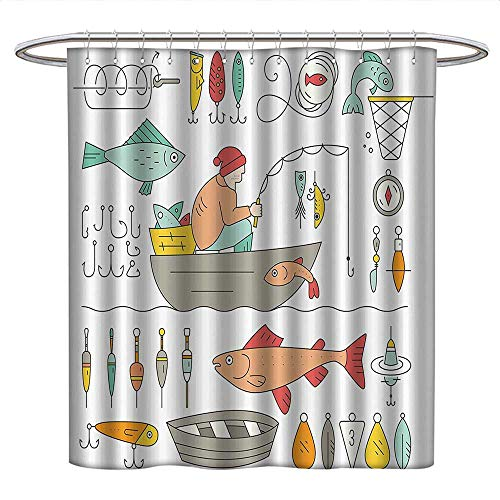 Nautical Decor Collectionlong Shower curtainFishing Gear Fisherman in The Boat Catching Fish Rod Bobber Tackle Hook Clip Work ImageShower Curtain liningLight Salmon