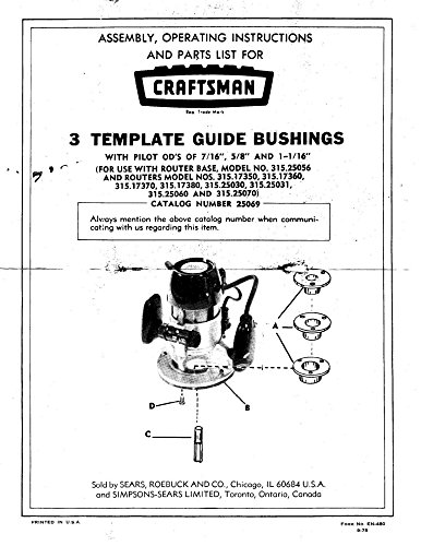 1975 Craftsman 3 Template Guide Bushings Instructions Cat. No. 25069 [Plastic...
