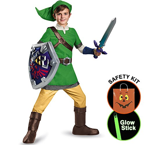 [Legend Of Zelda Boys Link Deluxe Costume Halloween Trick or Treat Safety Kit Large] (Trick Or Treat Costumes For Kids)