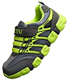 DADAWEN Boy's Girl's Athletic Strap Breathable Running Shoes Casual Sneakers (Toddler/Little Kid/Big Kid) Gray/Green US Size 13 M Little Kid/EU Size 32