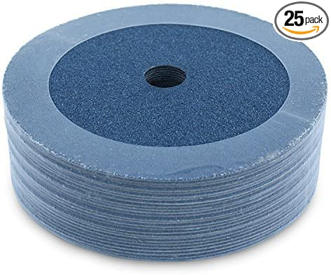 "25 Pack 7/"" Black Hawk 24 Grit A//O Resin Fiber Disc Grinding /& Sanding Discs"