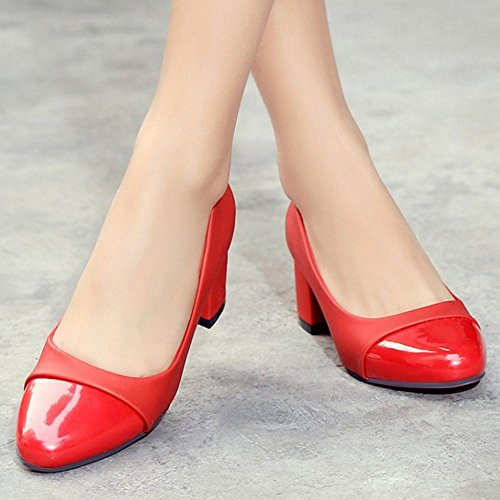 TAOFFEN Women Sweet Thick Mid Heel Mixed Colors Slip On Court Shoes Red HrV7RDuNd