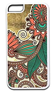 03-Paisley Kaleidescope- Case for the APPLE iphone 5s Universal ONLY!!! -Hard White Plastic Outer Case with Soft Inner Black Rubber Lining