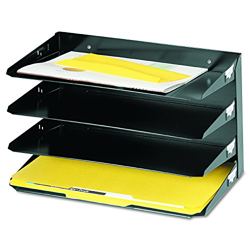 MMF Industries 4-Tier Legal-Size Horizontal Steel Desk Organizer, Black (Legal Desk Tray)