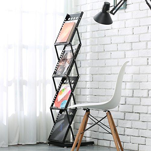 Modern Folding 4 Tier Metal Magazine Rack, Freestanding Literature Display Stand, Black by MyGift (Image #2)