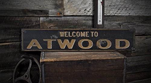 Welcome to ATWOOD, NORTH DAKOTA – Rustic Hand-Made Vintage US City Wooden Sign – 7.25 x 36 Inches