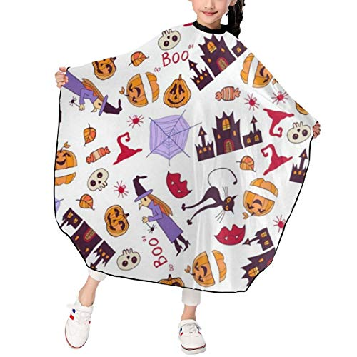 Halloween Happy Hair Cutting Gown Cape Hairdresser Professional Home Salon Capes Water Resistant Styling Cover Cloth for Kids/Child/Boys/Girls