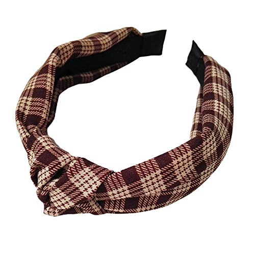 URIBAKE Women Plaid Hair Clasp Trist Knot Girl Print Wide Hair Band Hair Accessories Brown