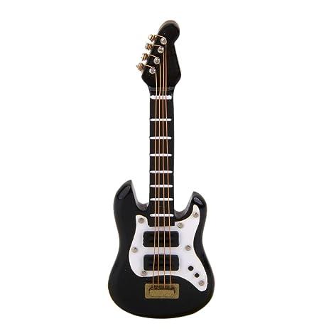 KESOTO 01:12 Dollhouse Miniatura De Instrumentos Musicales Guitarra Eléctrica Negra