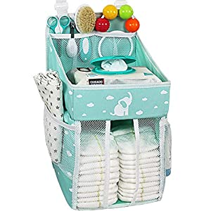 Hanging Diaper Caddy – Crib Diaper Organizer – Diaper Stacker for Crib, Playard or Wall – Newborn Boy and Girl Diaper Holder for Changing Table – Baby Shower Gifts- Elephant Soft Green – 17x9x9 inches