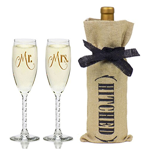 Wedding Champagne Toasting Flutes Hitched