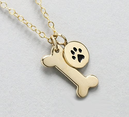 Necklace, Pet Memorial Gift, Gold Dog Bone and Paw Charm (Bone Pet Charm)