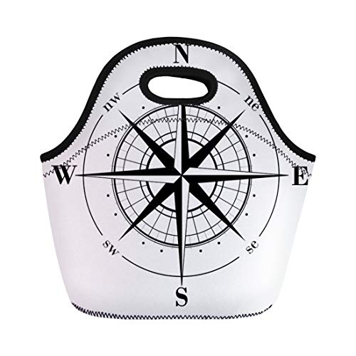 Semtomn Neoprene Lunch Tote Bag Nautical Black Compass Rose Whte North Wind Marine East Reusable Cooler Bags Insulated Thermal Picnic Handbag for Travel,School,Outdoors,Work