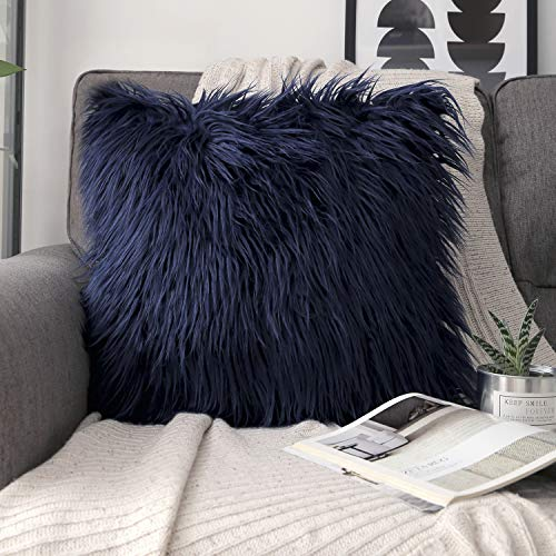 Phantoscope Decorative New Luxury Series Merino Style Navy Blue Fur Throw Pillow Case Cushion Cover 18 x 18 inches 45cm x 45cm (Blue Material Fur)