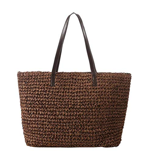 Las Cero color Simple Solo Mujeres Hombro Tejida Verano Del Brown Dark Playa Bolsa De Bolso Olprkgdg Paja Un Brown qYZ6BnX