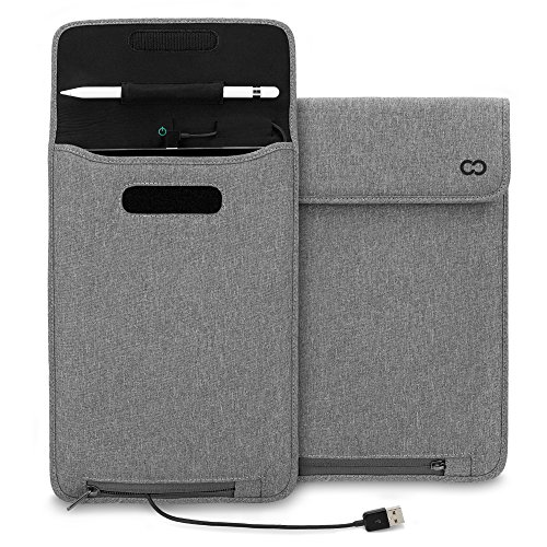 CaseCrown New iPad 2017, iPad Air 2, iPad Pro 9.7 Power Sleeve (Charcoal Gray) w/Apple Pencil Holder & MFI Certified USB to Lightning Cable by CaseCrown