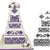 HULISEN 7Pcs Cake Decorating Stencil Mold Wedding Cake Stencil